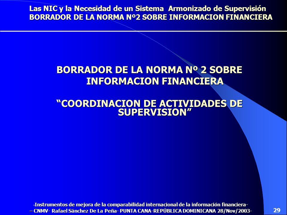 Las NIC y la Necesidad de un Sistema Armonizado de Supervisión EL STANDARD N º 1 Los supervisores deberán informar periódicamente de sus actividades L