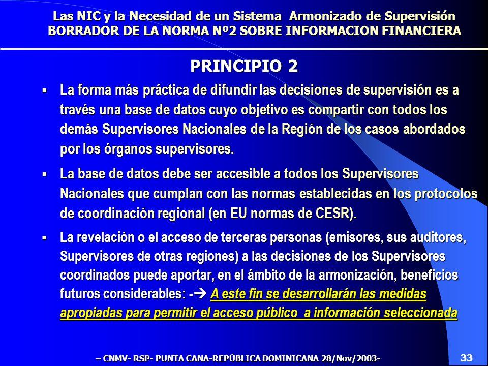 La forma más práctica de difundir las decisiones de supervisión es a través una base de datos cuyo objetivo es compartir con todos los demás Supervisores Nacionales de la Región de los casos abordados por los órganos supervisores.