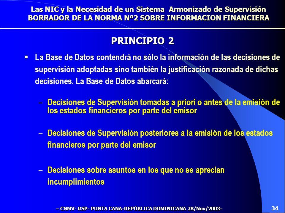 La Base de Datos contendrá no sólo la información de las decisiones de supervisión adoptadas sino también la justificación razonada de dichas decisiones.