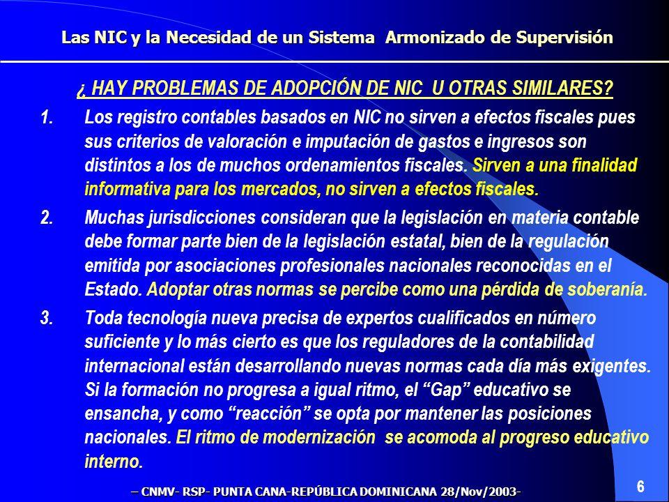 ¿ HAY PROBLEMAS DE ADOPCIÓN DE NIC U OTRAS SIMILARES.