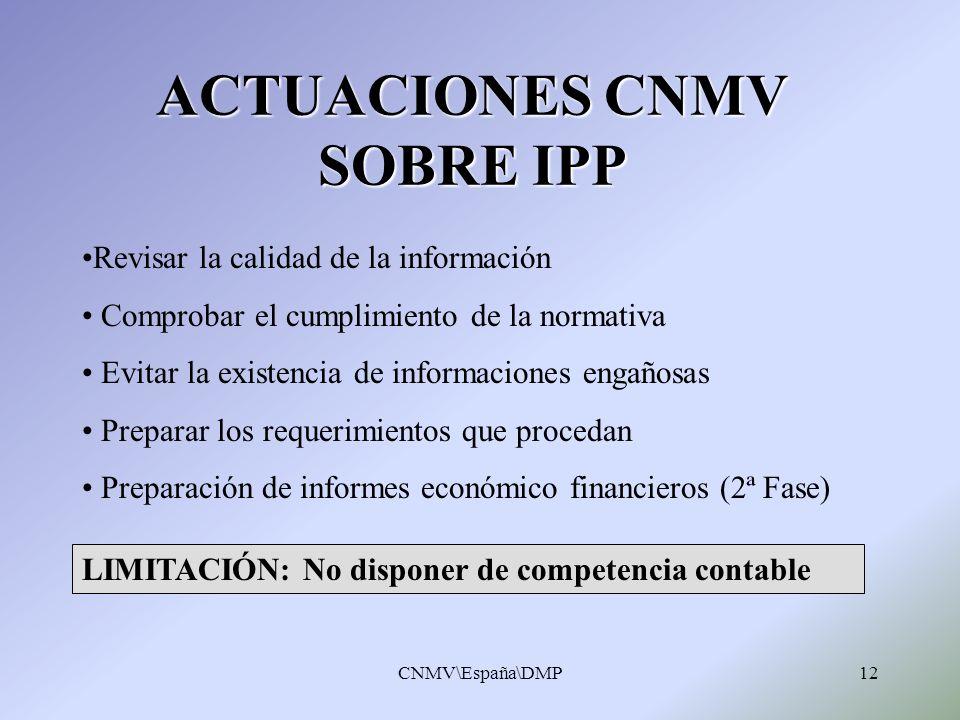 CNMV\España\DMP12 ACTUACIONES CNMV SOBRE IPP Revisar la calidad de la información Comprobar el cumplimiento de la normativa Evitar la existencia de in