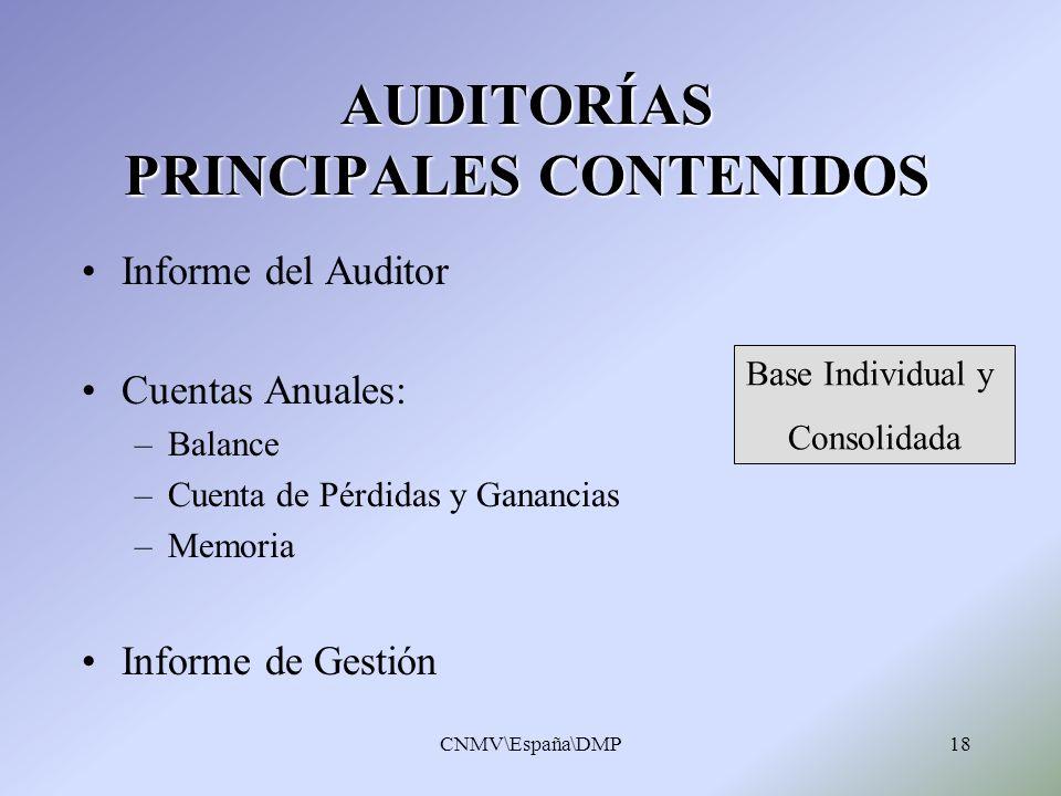 CNMV\España\DMP18 AUDITORÍAS PRINCIPALES CONTENIDOS Informe del Auditor Cuentas Anuales: –Balance –Cuenta de Pérdidas y Ganancias –Memoria Informe de