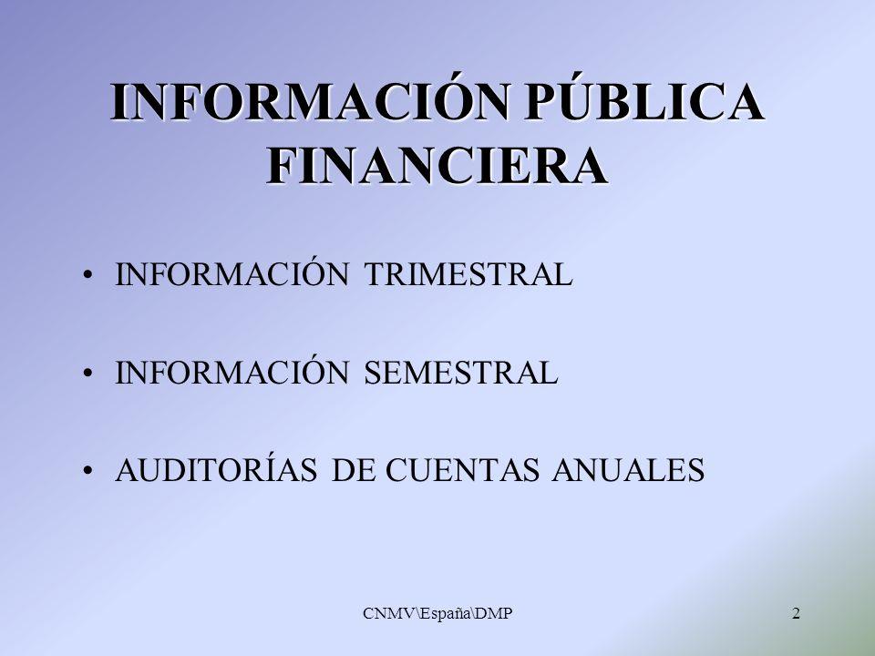 CNMV\España\DMP2 INFORMACIÓN PÚBLICA FINANCIERA INFORMACIÓN TRIMESTRAL INFORMACIÓN SEMESTRAL AUDITORÍAS DE CUENTAS ANUALES