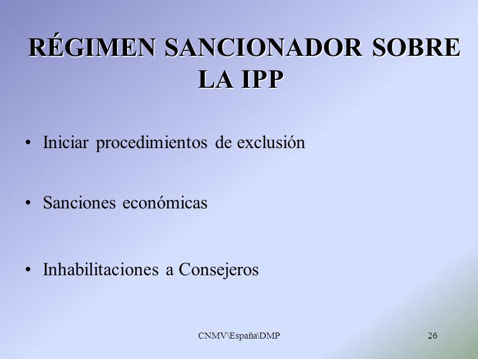 CNMV\España\DMP26 RÉGIMEN SANCIONADOR SOBRE LA IPP RÉGIMEN SANCIONADOR SOBRE LA IPP Iniciar procedimientos de exclusión Sanciones económicas Inhabilit