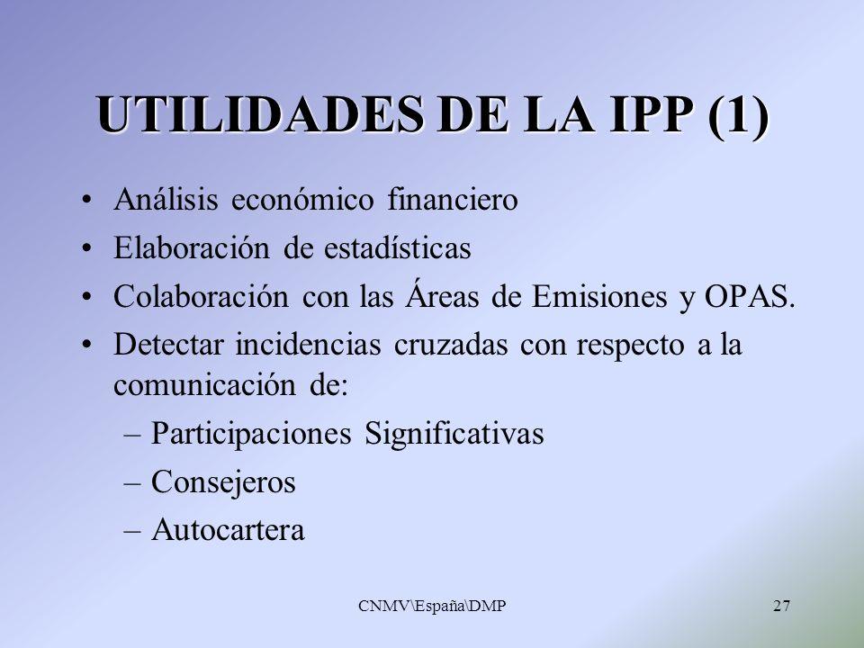 CNMV\España\DMP27 UTILIDADES DE LA IPP (1) Análisis económico financiero Elaboración de estadísticas Colaboración con las Áreas de Emisiones y OPAS. D