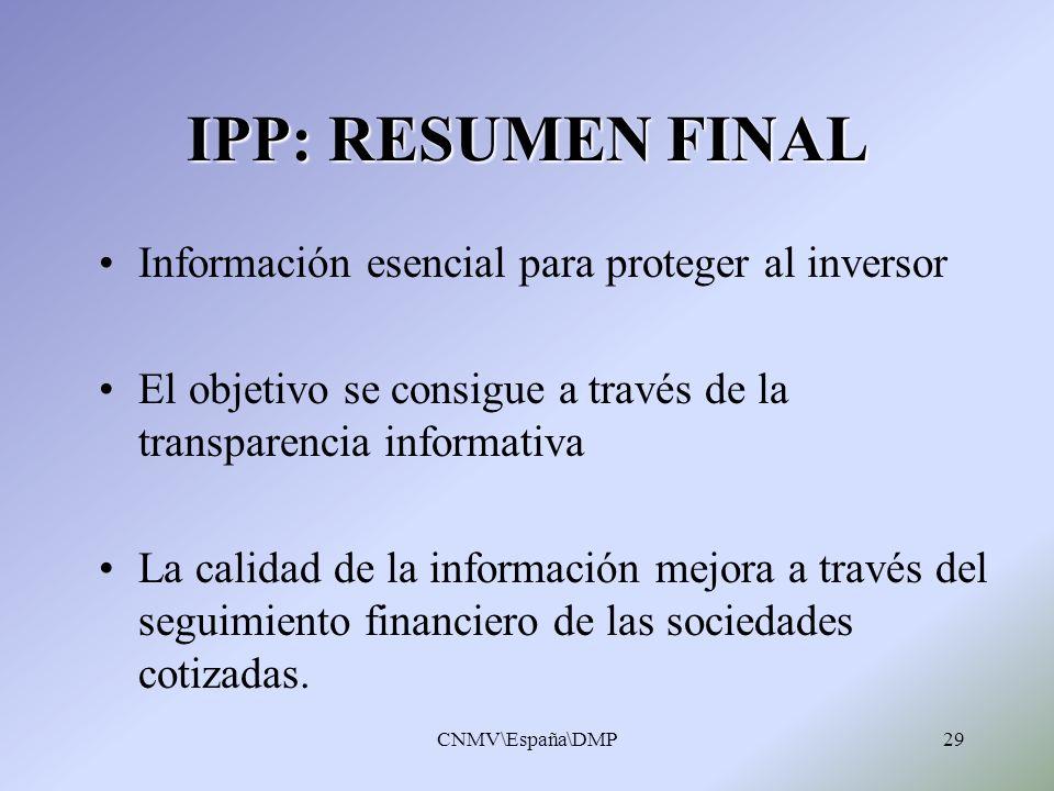 CNMV\España\DMP29 IPP: RESUMEN FINAL Información esencial para proteger al inversor El objetivo se consigue a través de la transparencia informativa L