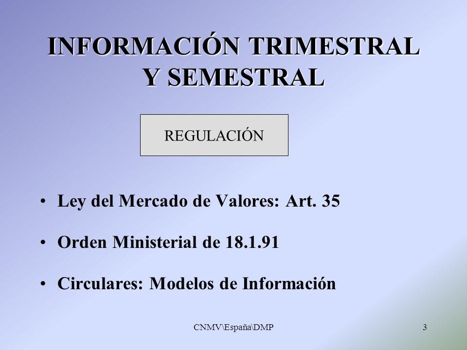 CNMV\España\DMP14 Información de carácter interno sobre temas específicos Información de carácter interno sobre temas específicos Información sectorial agregada + Información de cada sociedad Información sectorial agregada + Información de cada sociedad INFORMES AL CONSEJO INFORMES AL CONSEJO PUBLICACIONES INFORMES SOBRE IPP SEMESTRALES ( web CNMV) SEMESTRALES ( web CNMV) TRIMESTRALES ( web CNMV) TRIMESTRALES ( web CNMV)
