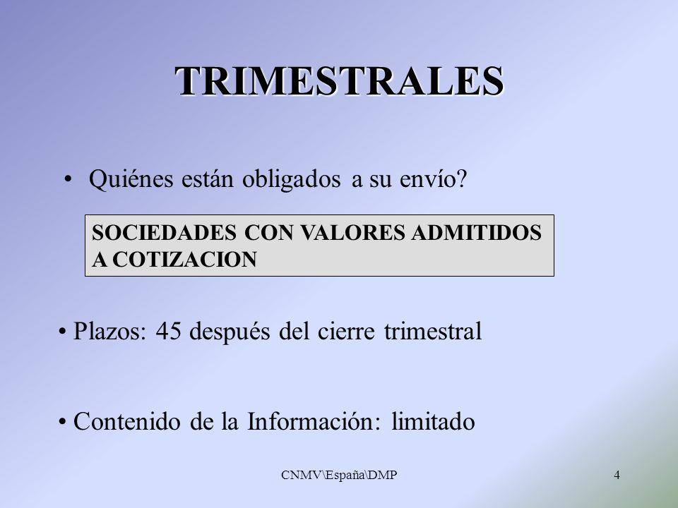 CNMV\España\DMP4 TRIMESTRALES Quiénes están obligados a su envío? Plazos: 45 después del cierre trimestral Contenido de la Información: limitado SOCIE