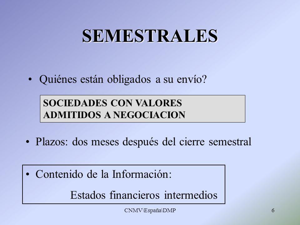 CNMV\España\DMP6 SEMESTRALES Quiénes están obligados a su envío? Plazos: dos meses después del cierre semestral Contenido de la Información: Estados f