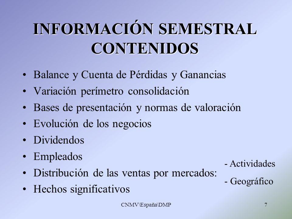 CNMV\España\DMP7 INFORMACIÓN SEMESTRAL CONTENIDOS Balance y Cuenta de Pérdidas y Ganancias Variación perímetro consolidación Bases de presentación y n