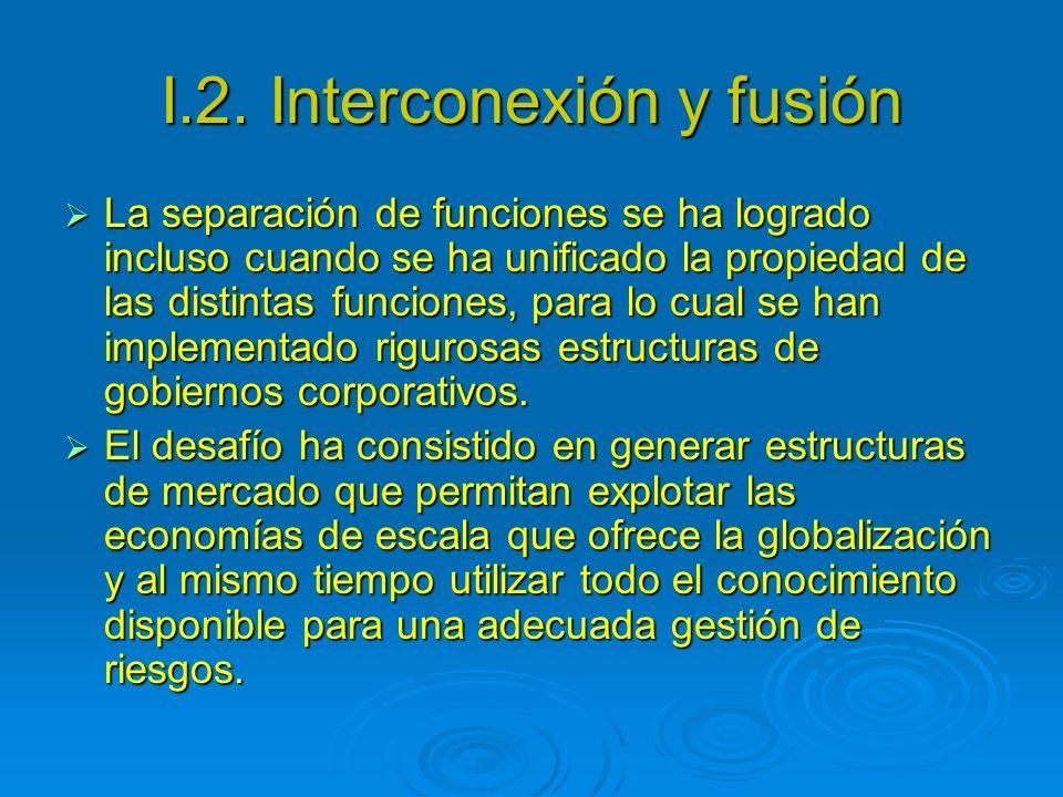 I.2. Interconexión y fusión La separación de funciones se ha logrado incluso cuando se ha unificado la propiedad de las distintas funciones, para lo c