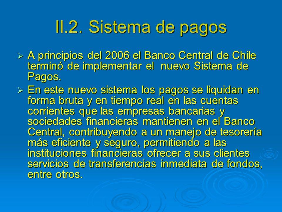 II.2. Sistema de pagos A principios del 2006 el Banco Central de Chile terminó de implementar el nuevo Sistema de Pagos. A principios del 2006 el Banc