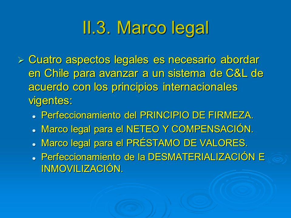 II.3. Marco legal Cuatro aspectos legales es necesario abordar en Chile para avanzar a un sistema de C&L de acuerdo con los principios internacionales