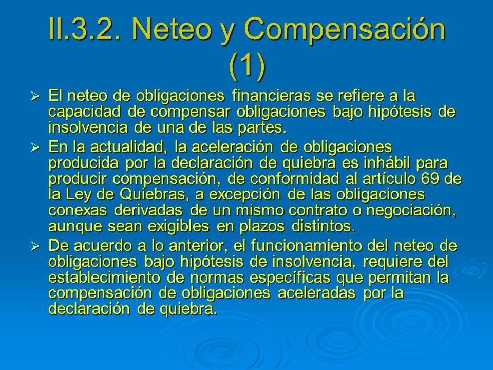 II.3.2. Neteo y Compensación (1) El neteo de obligaciones financieras se refiere a la capacidad de compensar obligaciones bajo hipótesis de insolvenci