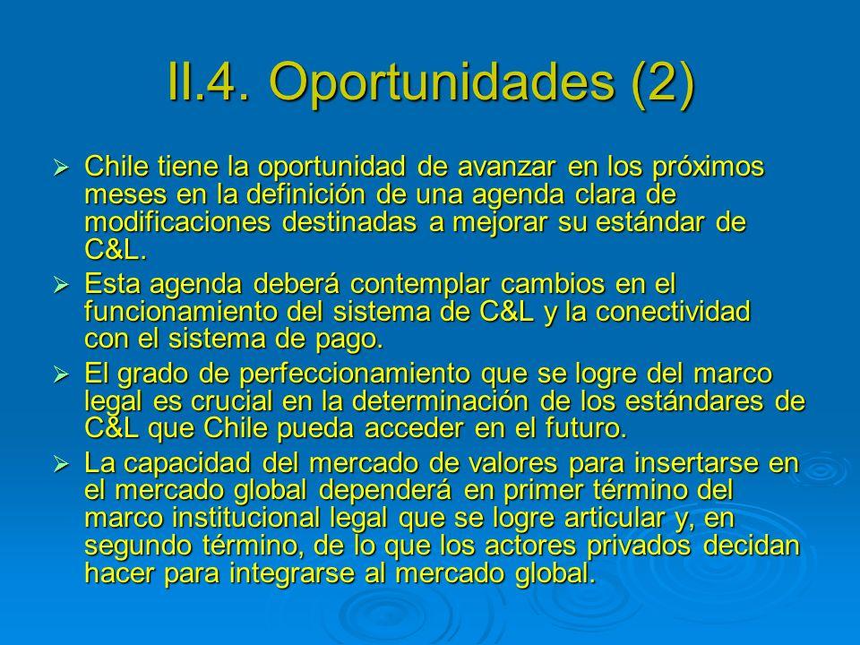 II.4. Oportunidades (2) Chile tiene la oportunidad de avanzar en los próximos meses en la definición de una agenda clara de modificaciones destinadas