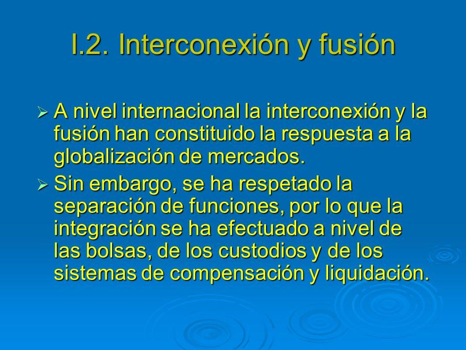 I.2. Interconexión y fusión A nivel internacional la interconexión y la fusión han constituido la respuesta a la globalización de mercados. A nivel in