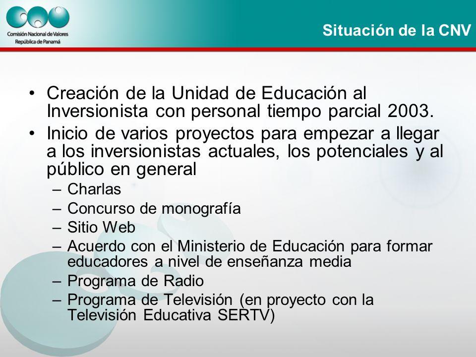 Situación de la CNV Creación de la Unidad de Educación al Inversionista con personal tiempo parcial 2003. Inicio de varios proyectos para empezar a ll