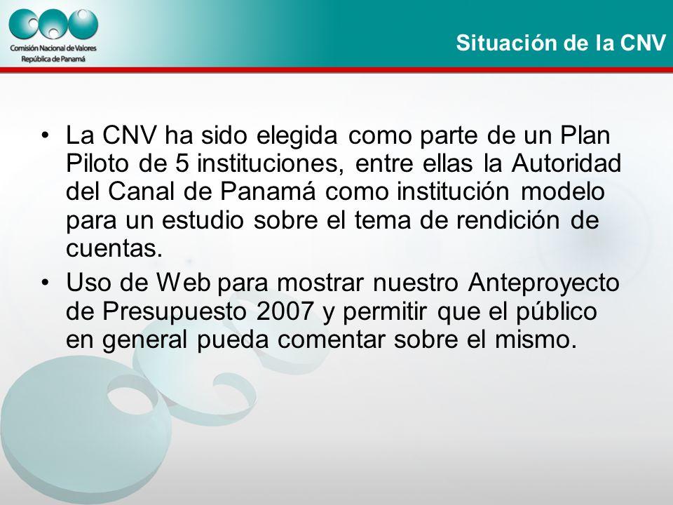 Situación de la CNV La CNV ha sido elegida como parte de un Plan Piloto de 5 instituciones, entre ellas la Autoridad del Canal de Panamá como instituc