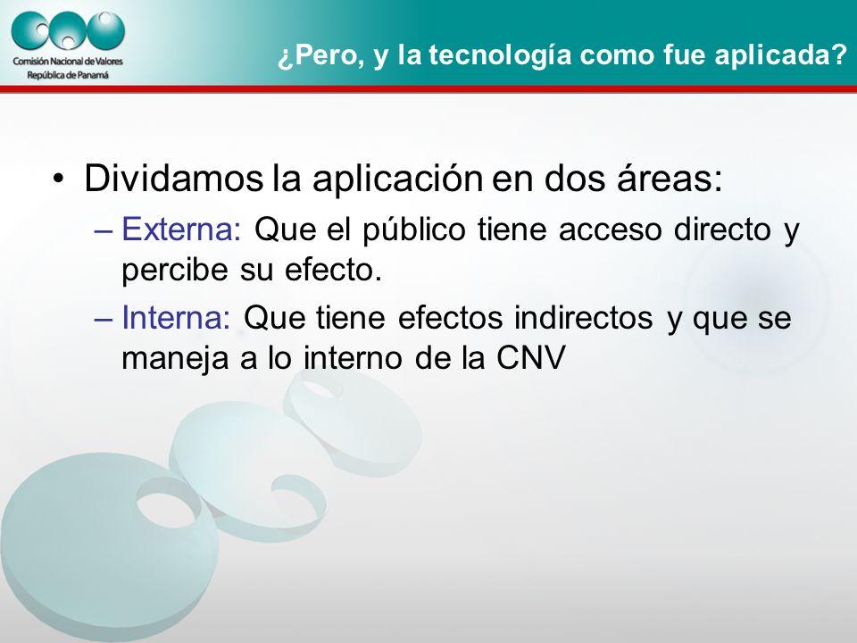 ¿Pero, y la tecnología como fue aplicada? Dividamos la aplicación en dos áreas: –Externa: Que el público tiene acceso directo y percibe su efecto. –In