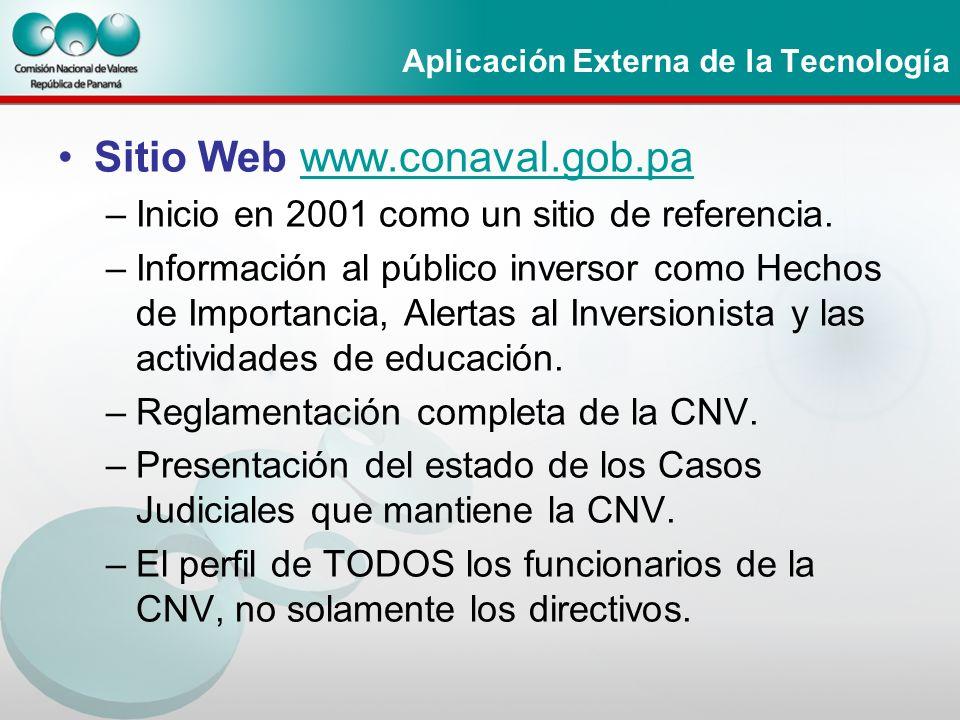 Aplicación Externa de la Tecnología Sitio Web www.conaval.gob.pawww.conaval.gob.pa –Inicio en 2001 como un sitio de referencia. –Información al públic