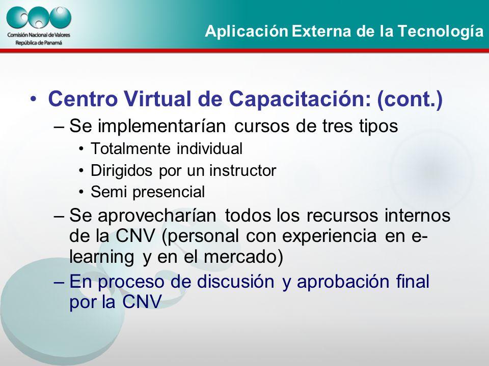 Aplicación Externa de la Tecnología Centro Virtual de Capacitación: (cont.) –Se implementarían cursos de tres tipos Totalmente individual Dirigidos po