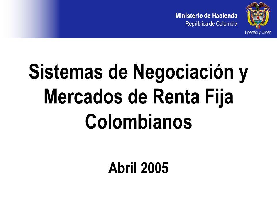 Ministerio de Hacienda República de Colombia SISTEMA SERIALIZADO CARACTERISTICAS DEL SISTEMA: Sistema semiciego Tiempo de exposición Requiere asignación de cupo Ingreso de ofertas de venta Mercado Electrónico Colombiano MEC:
