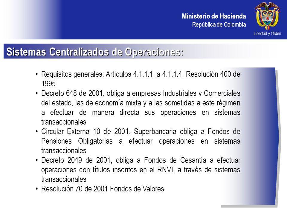 Ministerio de Hacienda República de Colombia OTRAS FUNCIONES DEL MEC: -Registro de operaciones de mercado primario -Cupos de contraparte -Cumplimiento de operaciones -Servicios de divulgación de información Mercado Electrónico Colombiano MEC: