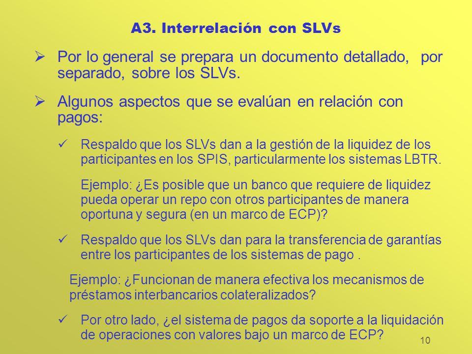 10 A3. Interrelación con SLVs Por lo general se prepara un documento detallado, por separado, sobre los SLVs. Algunos aspectos que se evalúan en relac