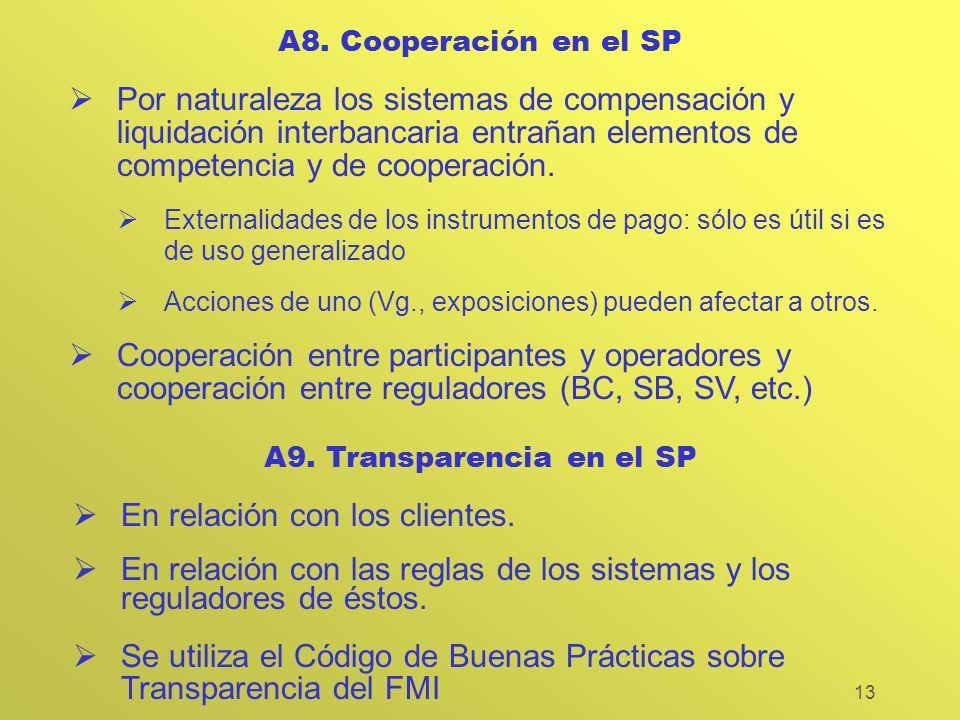 13 A8. Cooperación en el SP Por naturaleza los sistemas de compensación y liquidación interbancaria entrañan elementos de competencia y de cooperación