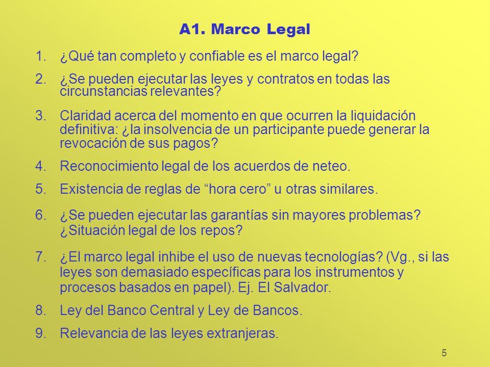 5 A1. Marco Legal 1.¿Qué tan completo y confiable es el marco legal? 2.¿Se pueden ejecutar las leyes y contratos en todas las circunstancias relevante