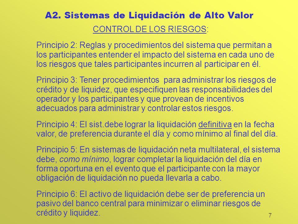 7 A2. Sistemas de Liquidación de Alto Valor CONTROL DE LOS RIESGOS: Principio 2: Reglas y procedimientos del sistema que permitan a los participantes