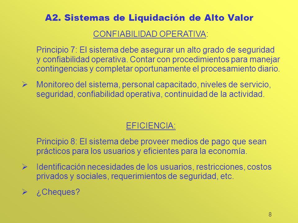 8 A2. Sistemas de Liquidación de Alto Valor CONFIABILIDAD OPERATIVA: Principio 7: El sistema debe asegurar un alto grado de seguridad y confiabilidad