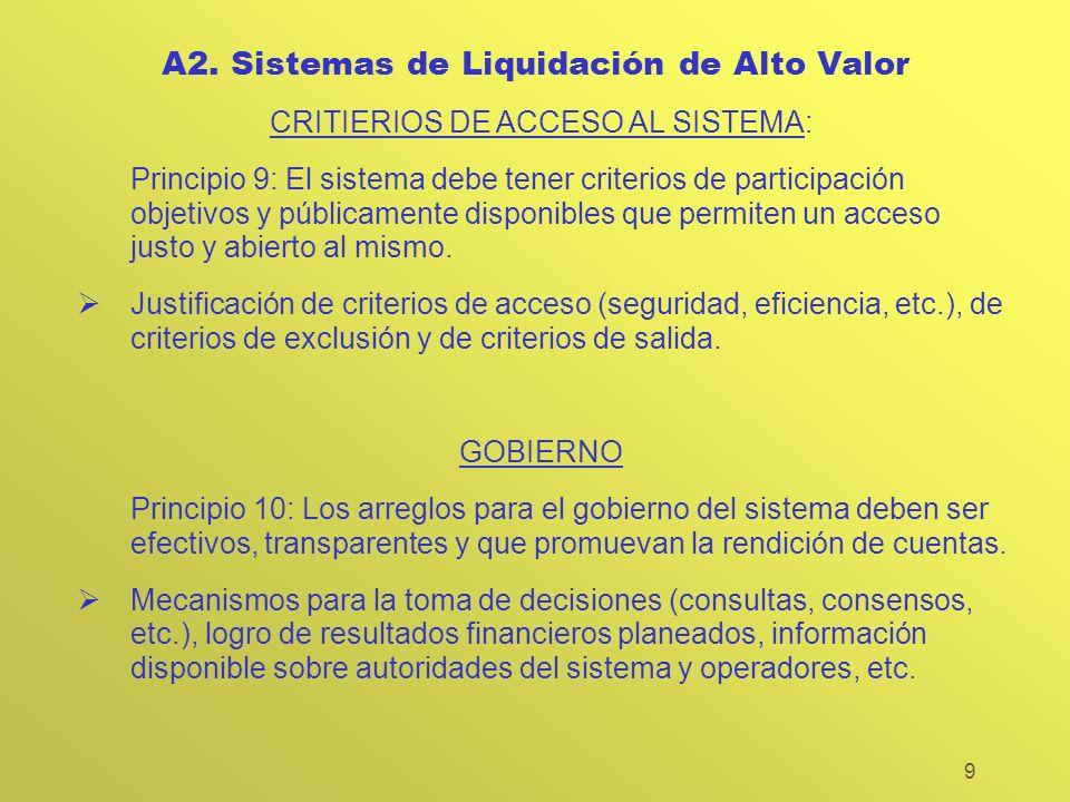 9 A2. Sistemas de Liquidación de Alto Valor CRITIERIOS DE ACCESO AL SISTEMA: Principio 9: El sistema debe tener criterios de participación objetivos y