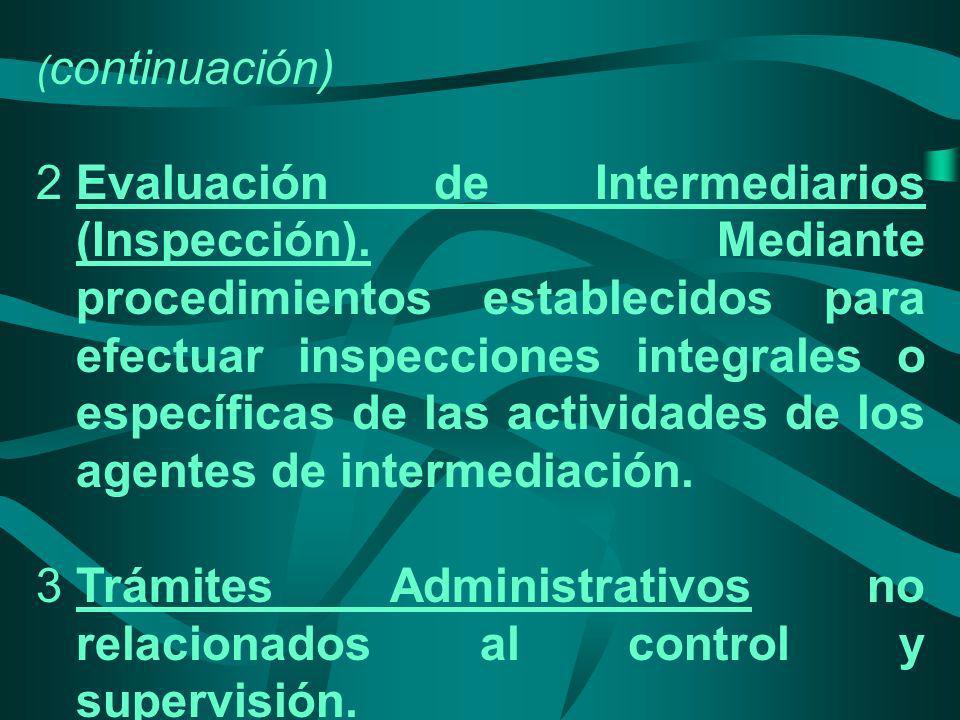 ( continuación) 2Evaluación de Intermediarios (Inspección). Mediante procedimientos establecidos para efectuar inspecciones integrales o específicas d
