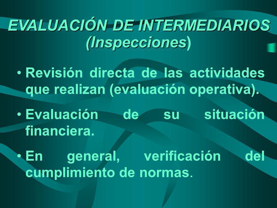 EVALUACIÓN DE INTERMEDIARIOS (Inspecciones EVALUACIÓN DE INTERMEDIARIOS (Inspecciones) Revisión directa de las actividades que realizan (evaluación op