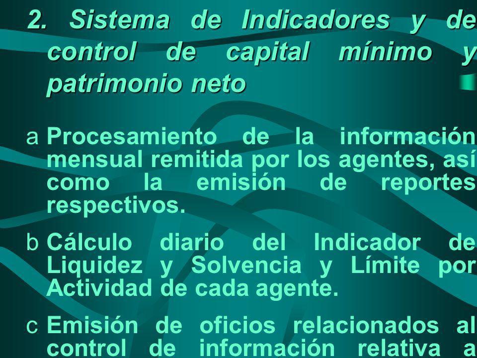 2. Sistema de Indicadores y de control de capital mínimo y patrimonio neto aProcesamiento de la información mensual remitida por los agentes, así como