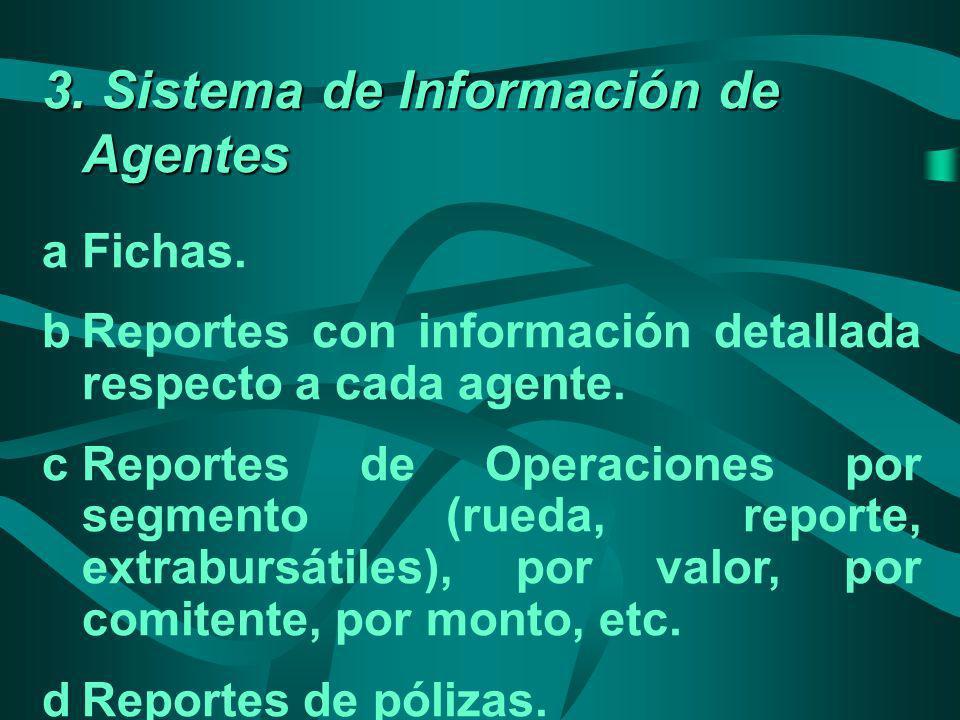 3. Sistema de Información de Agentes aFichas. bReportes con información detallada respecto a cada agente. cReportes de Operaciones por segmento (rueda
