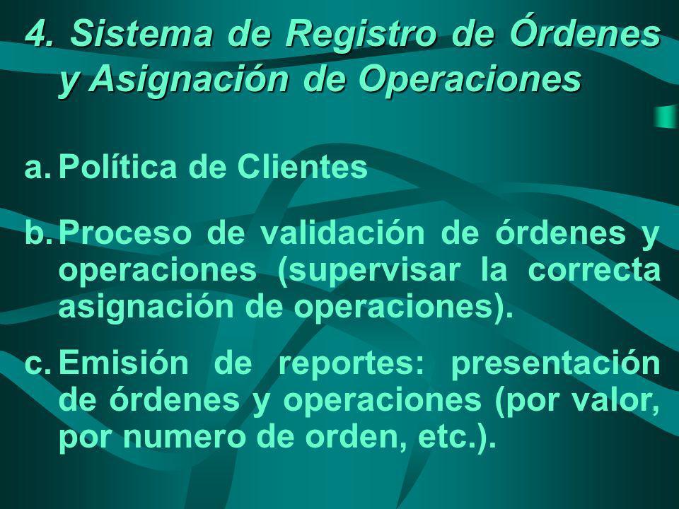 4. Sistema de Registro de Órdenes y Asignación de Operaciones a.Política de Clientes b.Proceso de validación de órdenes y operaciones (supervisar la c
