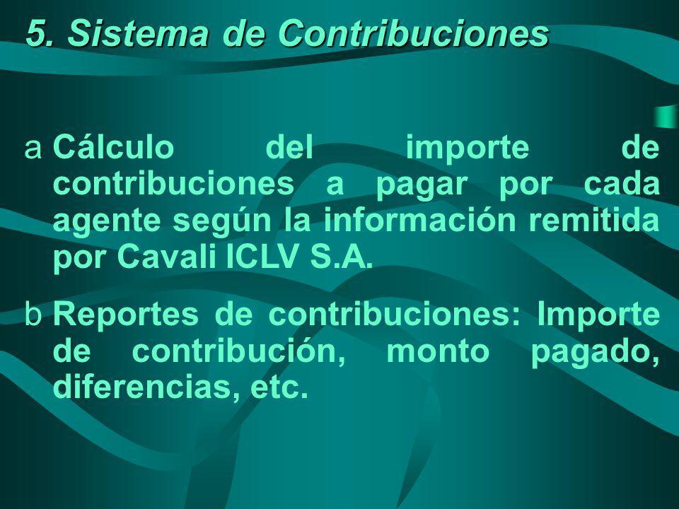 5. Sistema de Contribuciones aCálculo del importe de contribuciones a pagar por cada agente según la información remitida por Cavali ICLV S.A. bReport