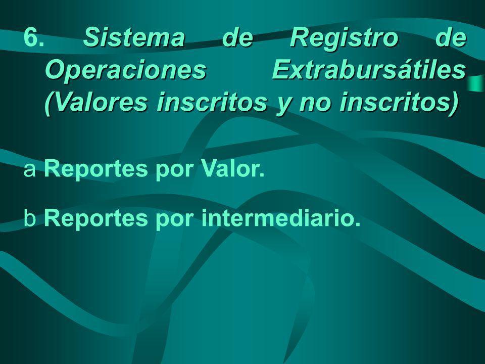 Sistema de Registro de Operaciones Extrabursátiles (Valores inscritos y no inscritos) 6. Sistema de Registro de Operaciones Extrabursátiles (Valores i