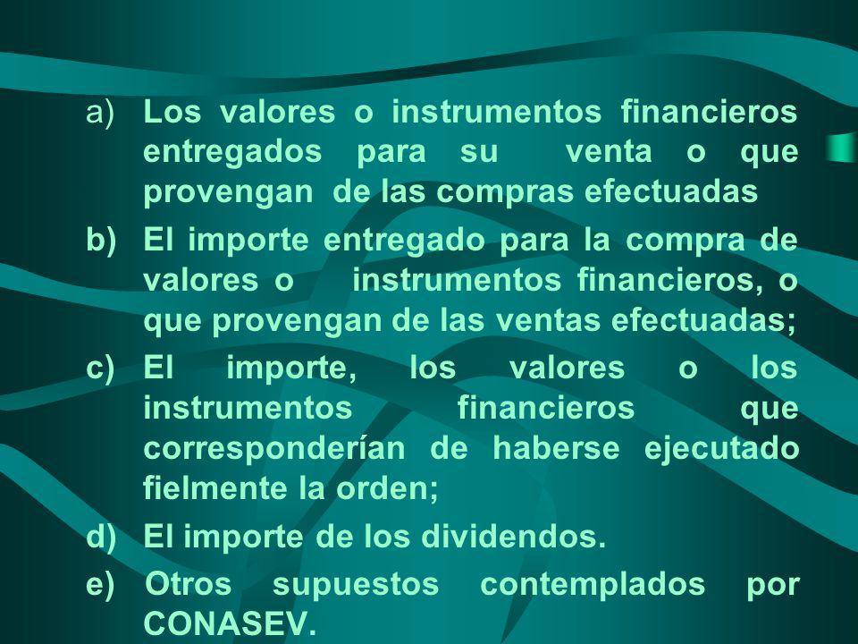 a) Los valores o instrumentos financieros entregados para su venta o que provengan de las compras efectuadas b)El importe entregado para la compra de