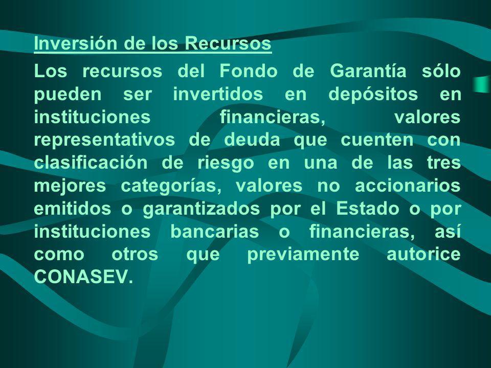 Inversión de los Recursos Los recursos del Fondo de Garantía sólo pueden ser invertidos en depósitos en instituciones financieras, valores representat