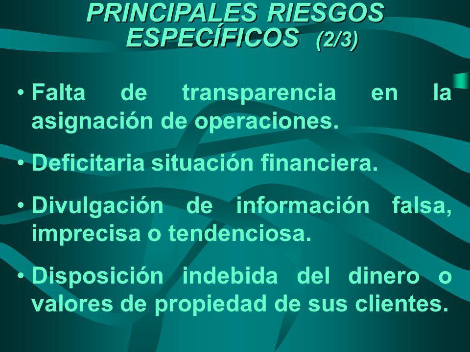 PRINCIPALES RIESGOS ESPECÍFICOS (2/3) Falta de transparencia en la asignación de operaciones. Deficitaria situación financiera. Divulgación de informa