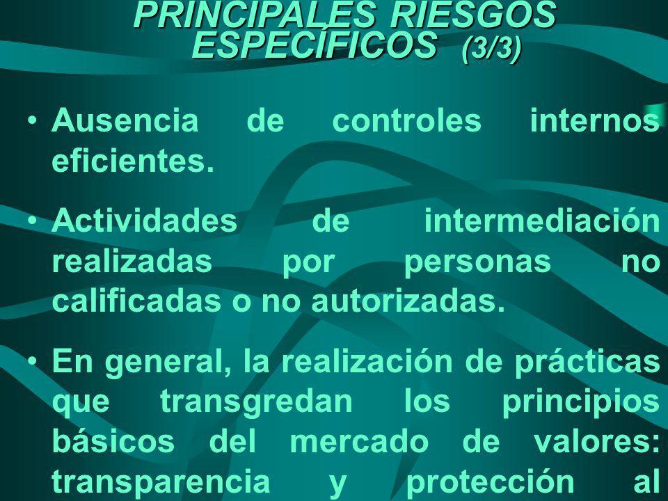 PRINCIPALES RIESGOS ESPECÍFICOS (3/3) Ausencia de controles internos eficientes. Actividades de intermediación realizadas por personas no calificadas
