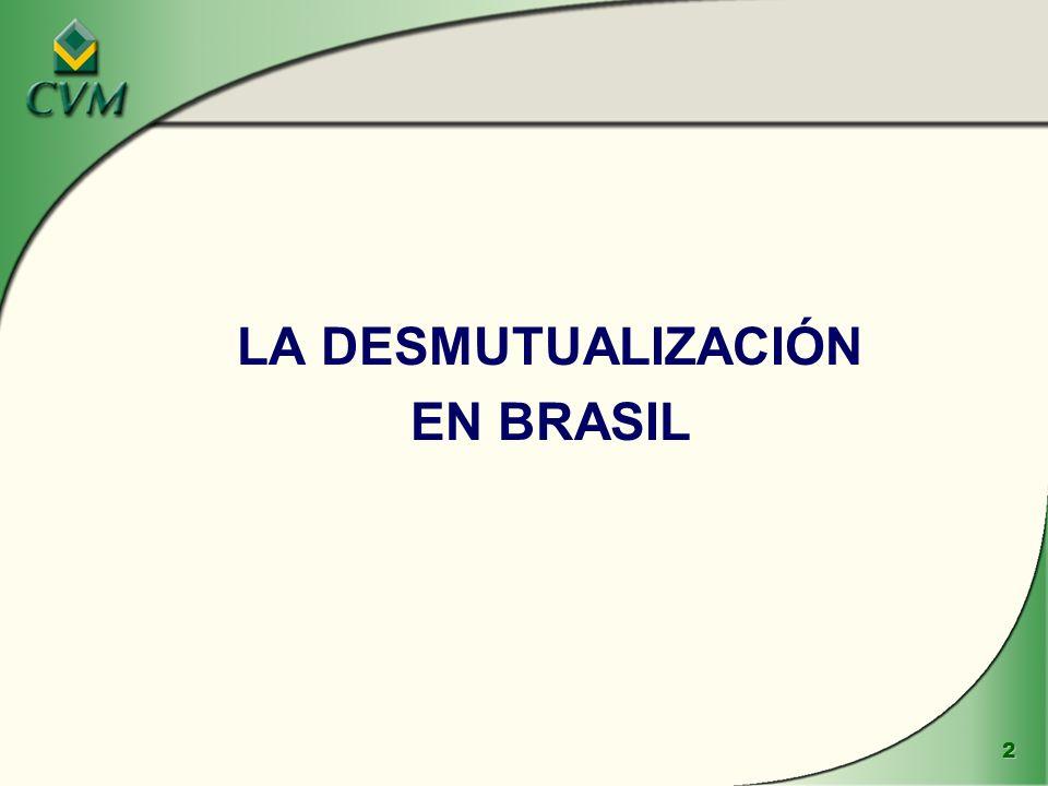 23 LA DESMUTUALIZACIÓN ä La función del regulador en la desmutualización v En Brasil, CVM debe aprobar el funcionamiento de cualquier bolsa de valores o entidad de compensación y liquidación, sus estatutos y procedimientos v.En Brasil, por la ley, las bolsas de valores tienen poder autorregulador, sin prejuicio de la regulación y fiscalización por CVM