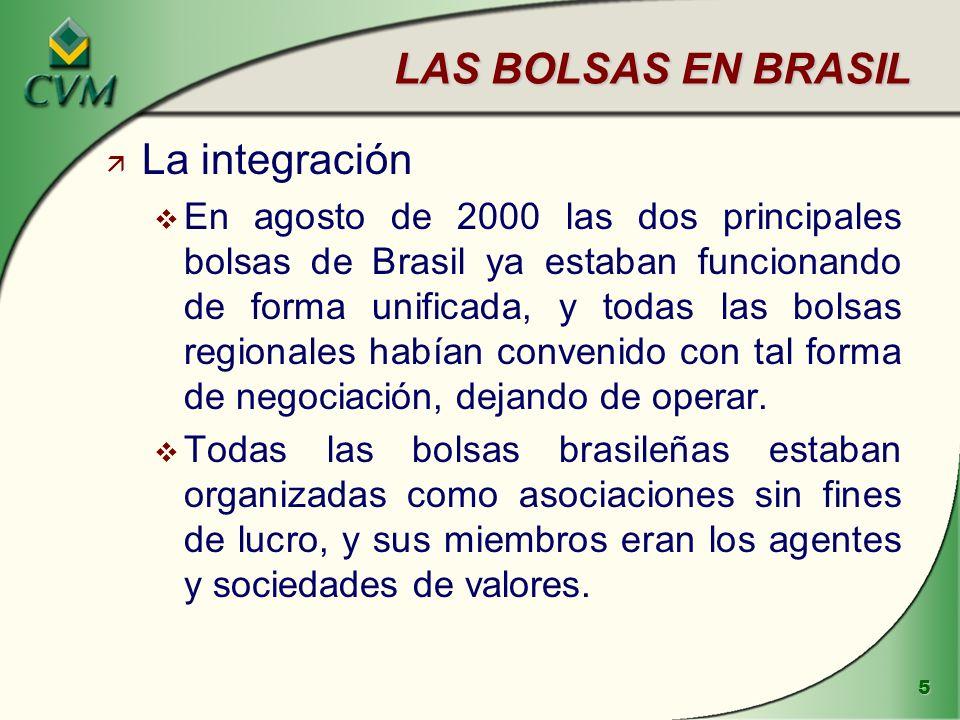 6 LAS BOLSAS EN BRASIL ä La integración de las clearing houses v Bajo el control de Bovespa e Bolsa de Rio funcionaban respectivamente dos sociedades prestadoras de servicios de compensación y liquidación, la CBLC y la CLC.