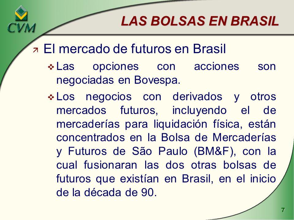 8 LAS BOLSAS EN BRASIL ä Bovespa - situación juridica v Bovespa es una asociación sin fines de lucro, con cerca de 200 miembros, todos agentes y sociedades de valores.