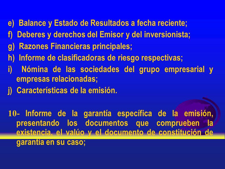 e) Balance y Estado de Resultados a fecha reciente; f) Deberes y derechos del Emisor y del inversionista; g) Razones Financieras principales; h) Infor