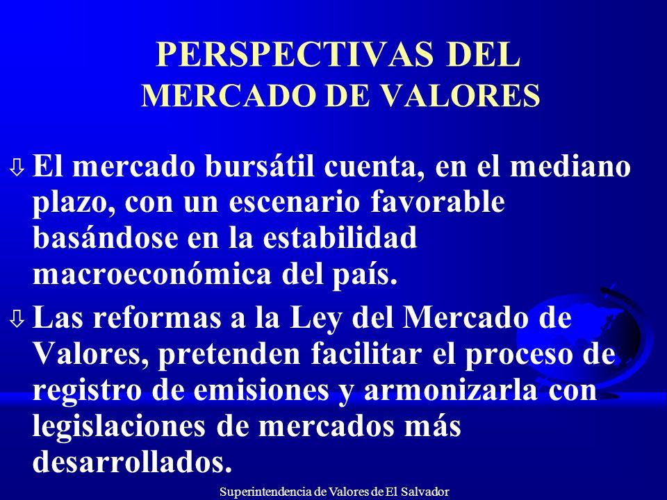 Superintendencia de Valores de El Salvador PERSPECTIVAS DEL MERCADO DE VALORES ò El mercado bursátil cuenta, en el mediano plazo, con un escenario fav