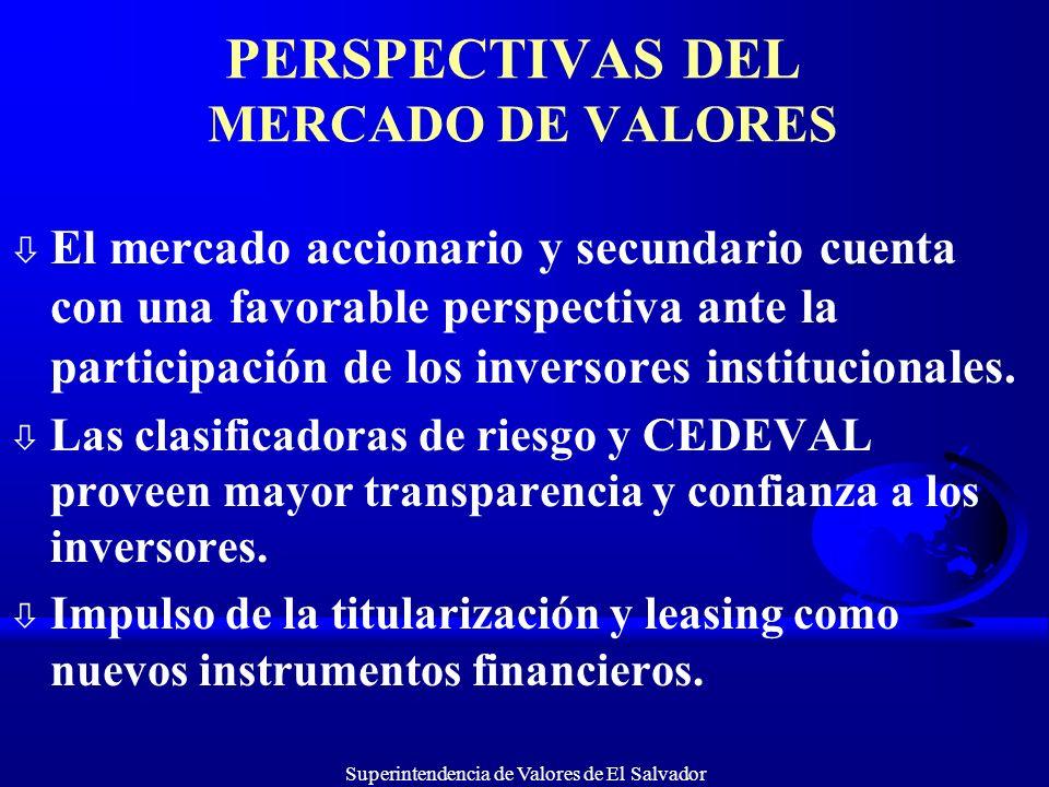 Superintendencia de Valores de El Salvador PERSPECTIVAS DEL MERCADO DE VALORES ò El mercado accionario y secundario cuenta con una favorable perspecti